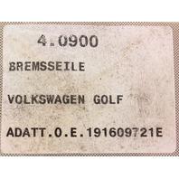 PEX Ebrake Parking Brake Cable 89-92 VW Jetta Golf MK2 Drum - 191 609 721 E