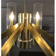 Mid Century Brass Dining Chandelier Lightolier Hurricane Light Lamp Vintage