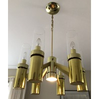 Mid Century Brass Dining Chandelier Lightolier Hurricane Light Lamp Vintage