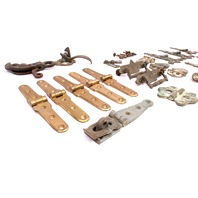 Ornate Antique Hardware Lot Handles Hinges Brass Barn Attic Find BOHN