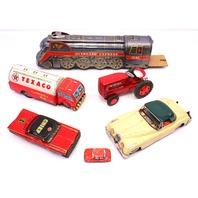 Vintage Metal Tin Made Japan Toy Car Train Tractor Jaguar Texoco Chief Antique