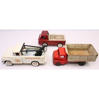 Group Lot of 3 Structo Toy Trucks Tow Wrecker Dump Antique Vintage 1960s