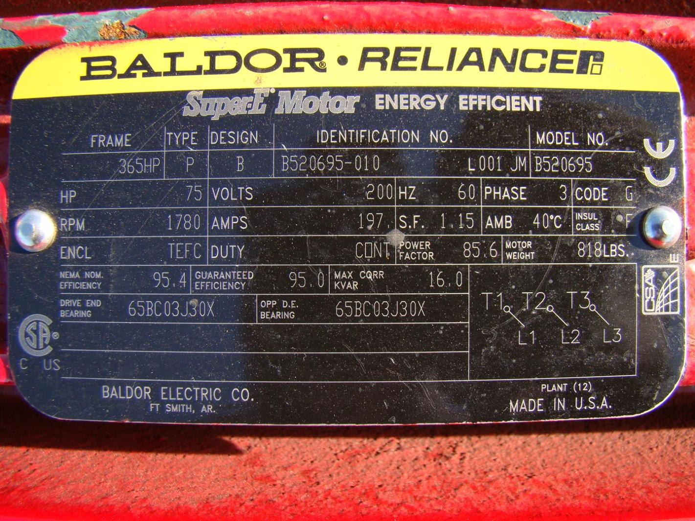 Baldor Reliancer Super E Motor 75hp 200v Ph3 1780rpm 197a