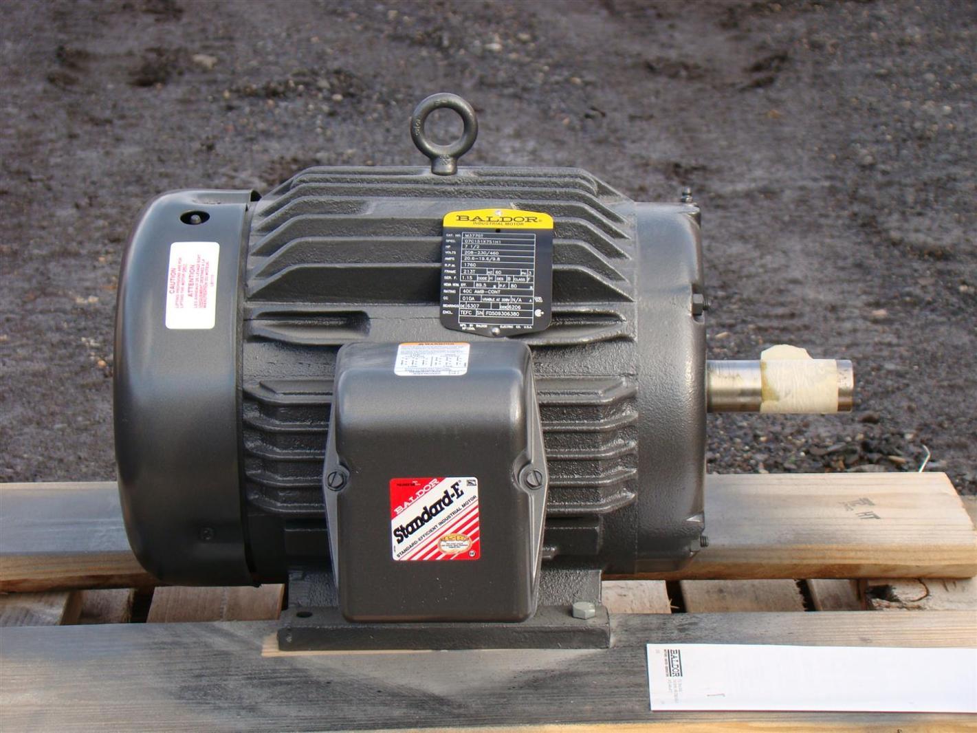 Baldor industrial motor 7 1 2hp 230 460v 19 6 9 8a 1760rpm Baldor industrial motor pump