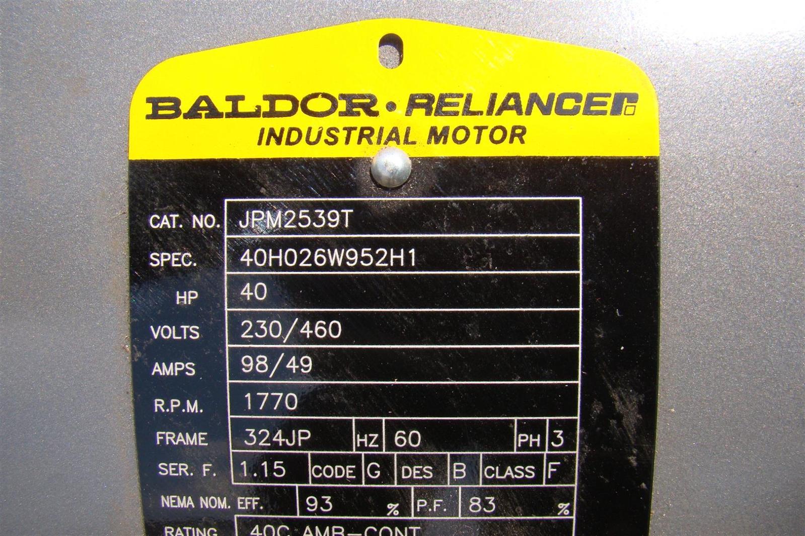 Baldor Reliancer Industrial Motor 40hp 230 460v 98 49amps