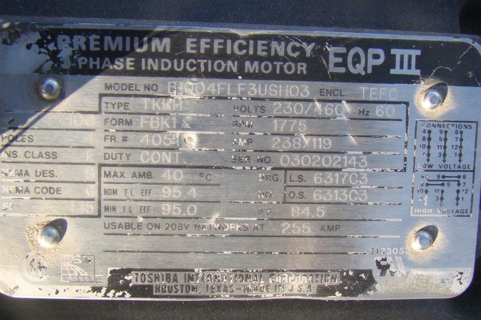 Toshiba Motor 100hp Frame 405ts Type Tkkh Enclosure Tefc
