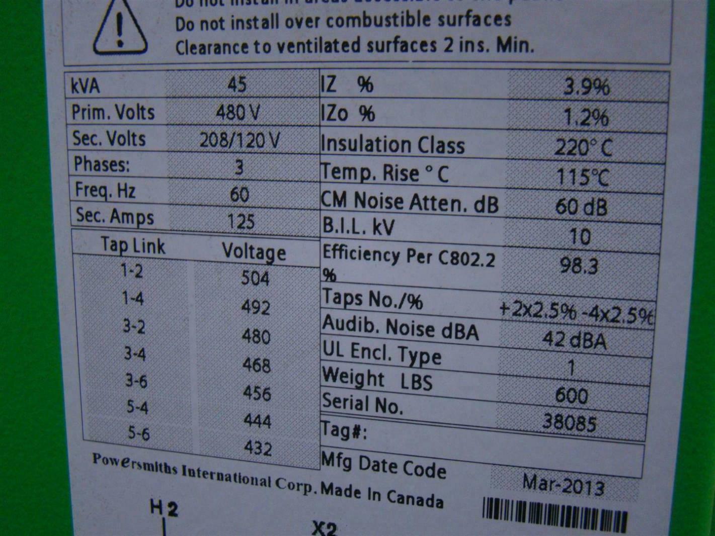 Powersmiths 45kva Transformer Type Ann  Dry  Power Xfmr
