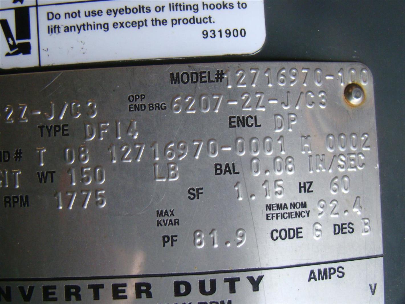 Us motors nidec 3 phase electric motor inverter duty 15 hp 1775 us motors nidec 3 phase electric motor inverter duty 15 hp 1775 rpm model 127169 publicscrutiny Images