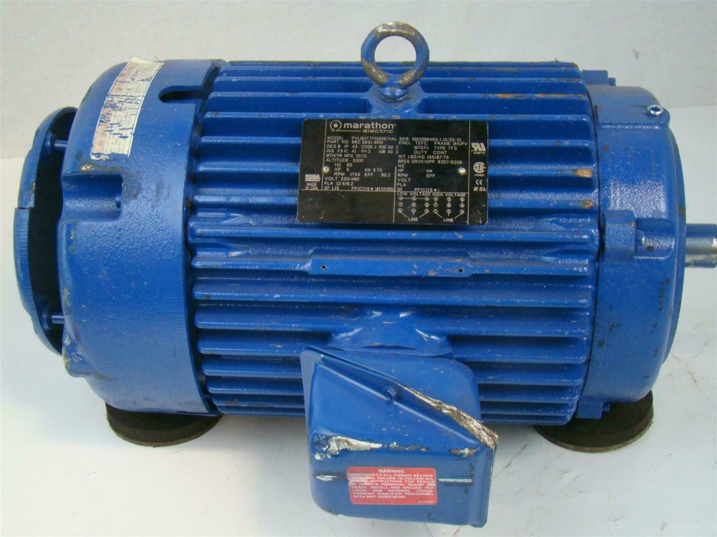 marathon 3 phase electric motor 5 hp 1755 rpm model
