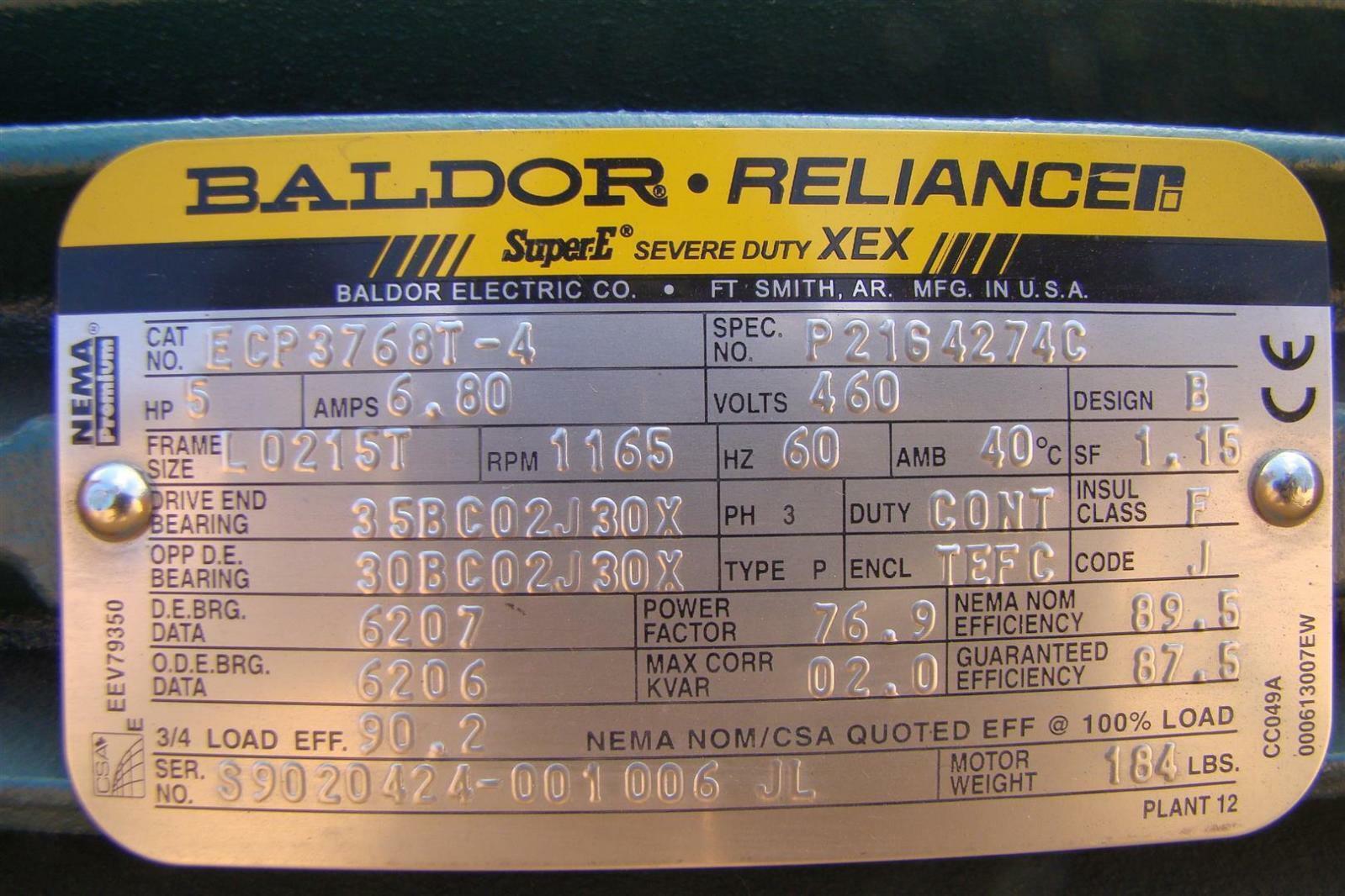Baldor reliancer 5hp super e severe duty 460v 3ph 1165rpm for Baldor reliance super e motor