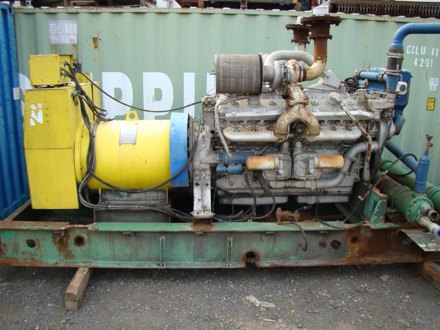 Detroit Diesel 16v92TA Turbo 750kw Marathon AC Generator Skid ...