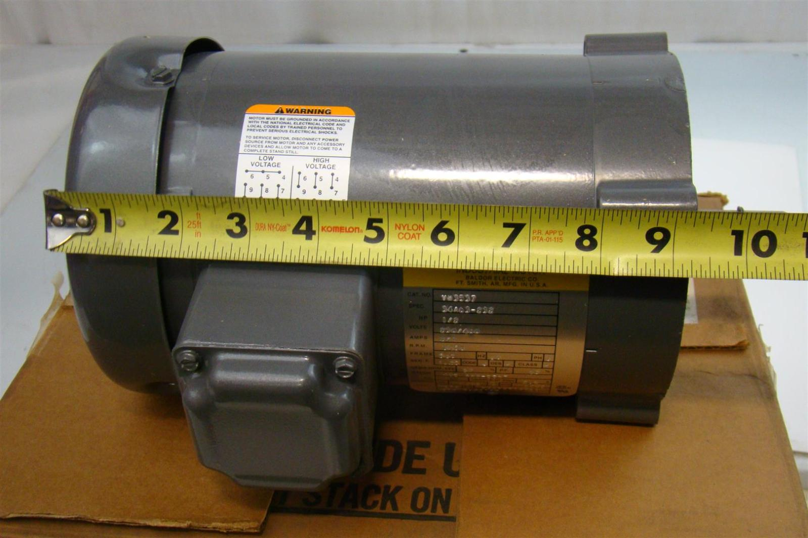 Baldor electric co industrial electric motor 230 460v 2 for Used industrial electric motors