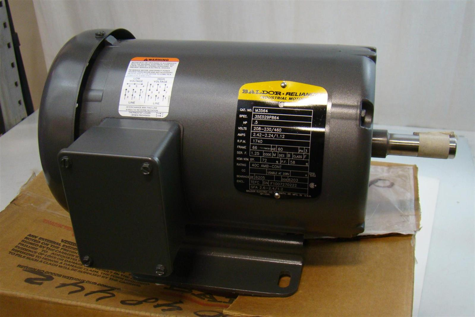 Baldor electric co industrial electric motor 208 230 460v for Baldor industrial motor parts