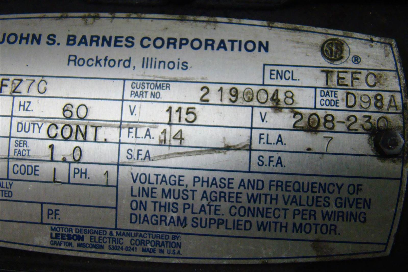 barnes hydraulic pump wiring diagram barnes discover your wiring john s barnes hydraulic pump unit 1725rpm 60hz 115v 1hp c6c17fz7c