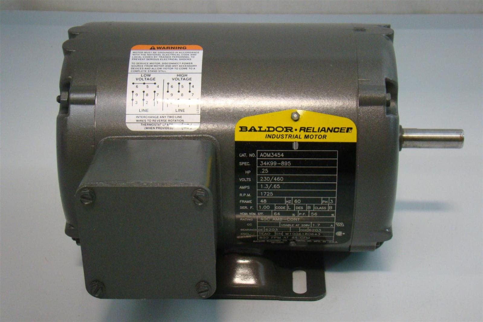 Baldor reliance industrial motor 25hp 1 3 65amps 1725rpm for Baldor industrial motor parts