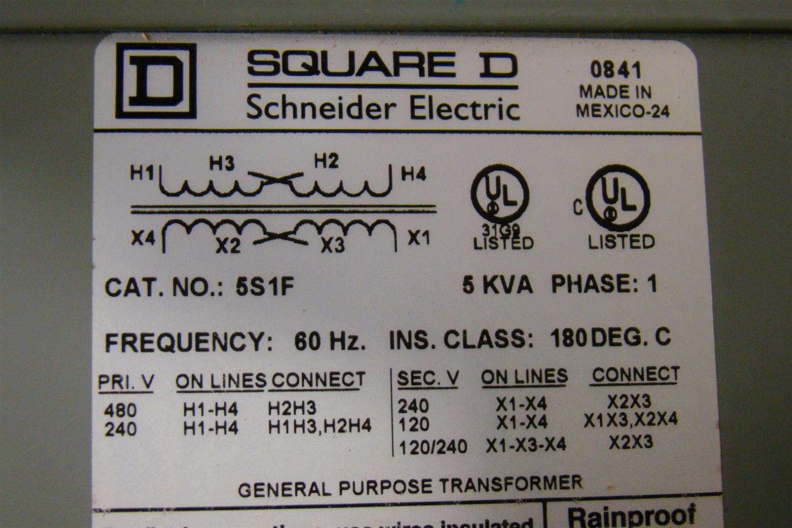 Square D Transformer Wiring Diagram : Square d kva transformer ph  s f ebay
