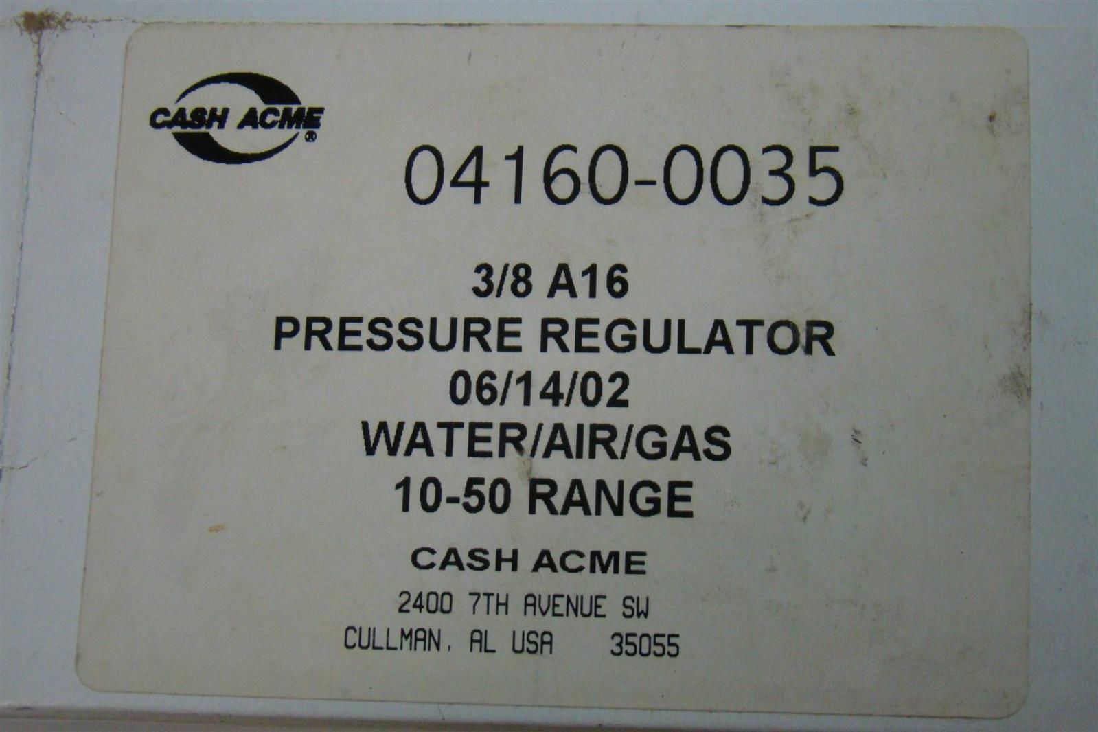 cash acme pressure regulator water air gas bf 10 50 range 4160 0035 ebay. Black Bedroom Furniture Sets. Home Design Ideas