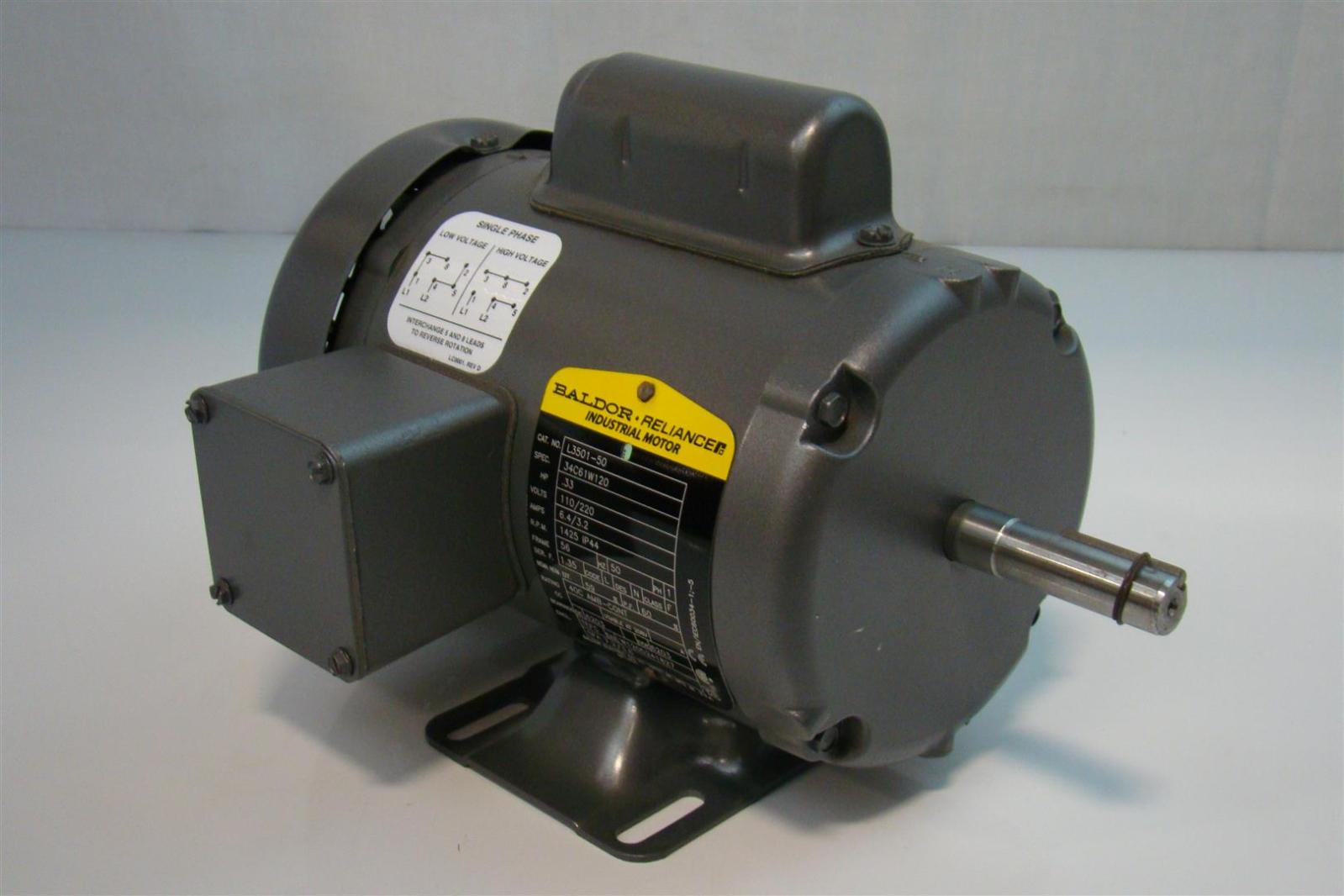Baldor 1 3hp motor 110 220v single phase 1425rpm l3501 50 for Baldor industrial motor parts