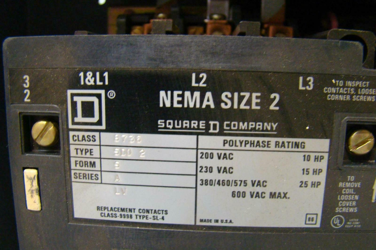 Square d overload relay nema size 2 starter 200vac 10hp for Sizing motor starters and overloads
