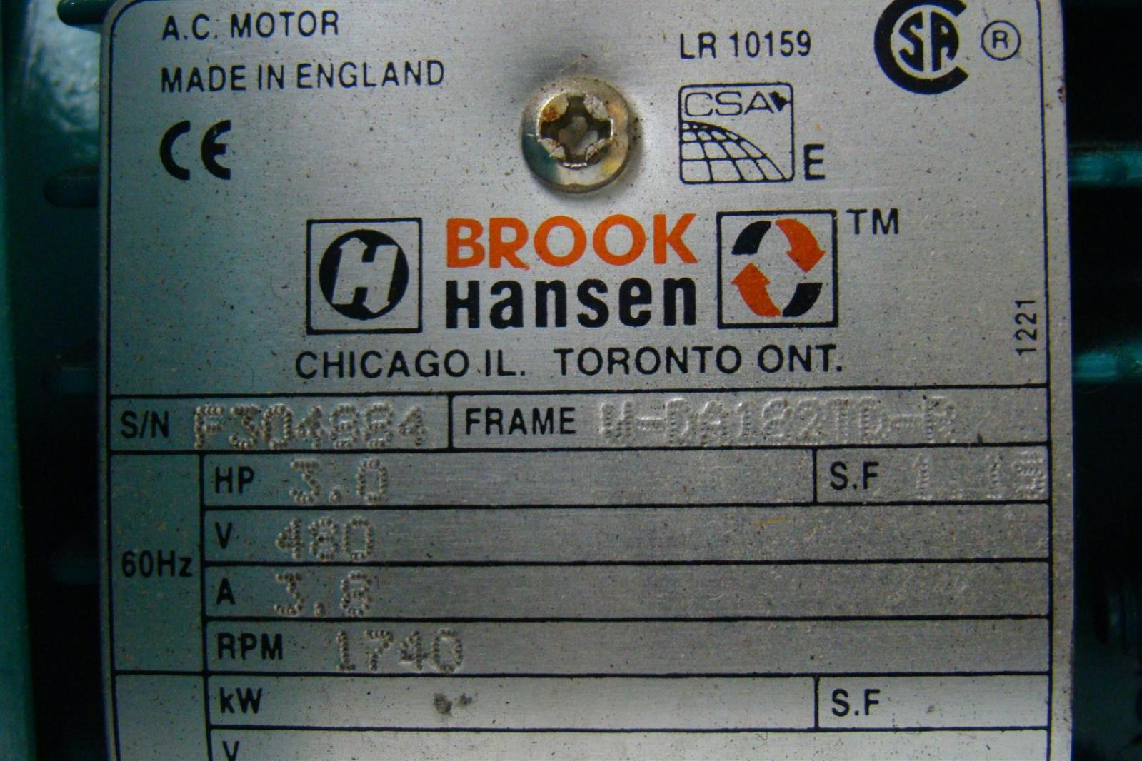 Brook Hansen F304884 W Da122id R 3 0hp Hydraulic Pump 480v