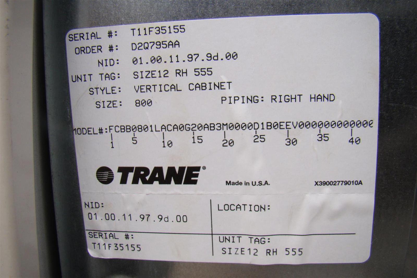 Trane Heat Pump Air Conditioner Size12 Rh 555 Vertical