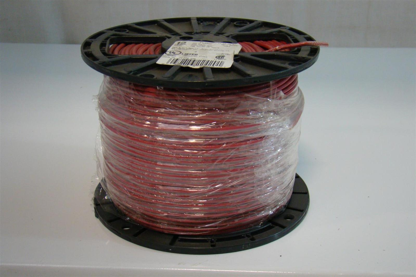 12 Solid Copper 500ft Red Insulated Wire T90 Nylon Twn75