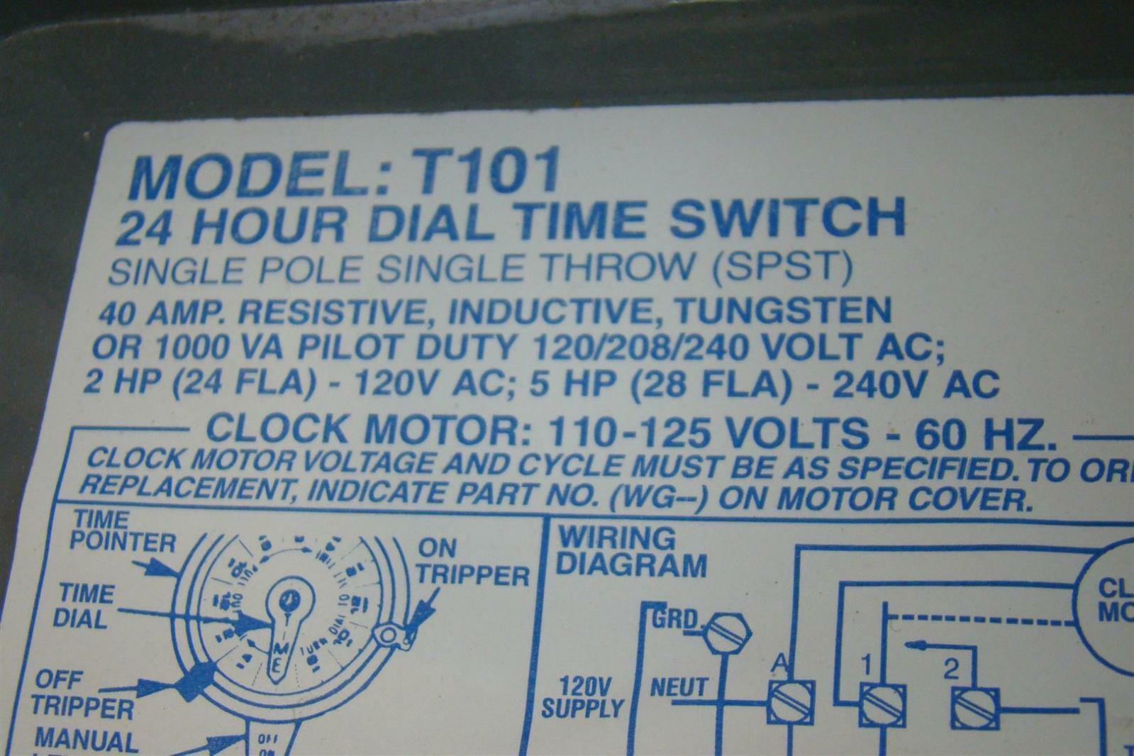 Intermatic Time Switch Single Pole Single Throw 40amp 2hp