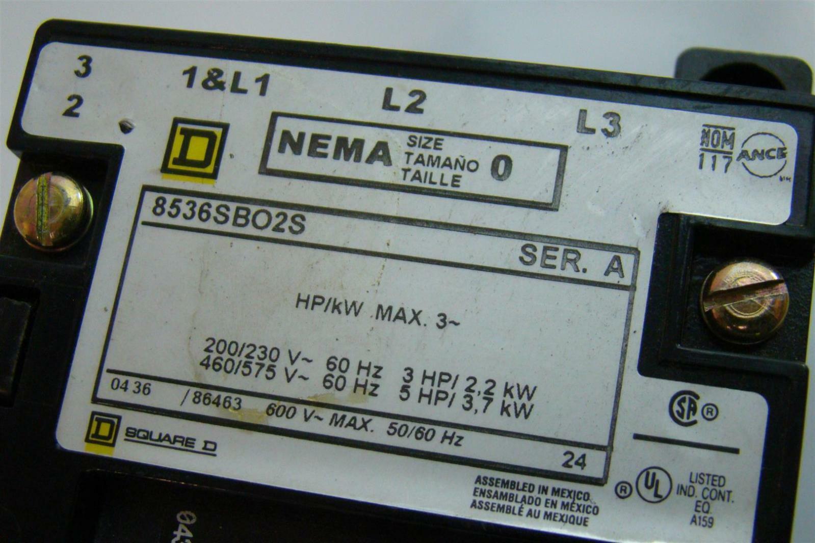 Motor Starter Size Square D Nema 1 Wiring Diagram 0 3 5hp 8502 8536 Sb 608536sbo2s