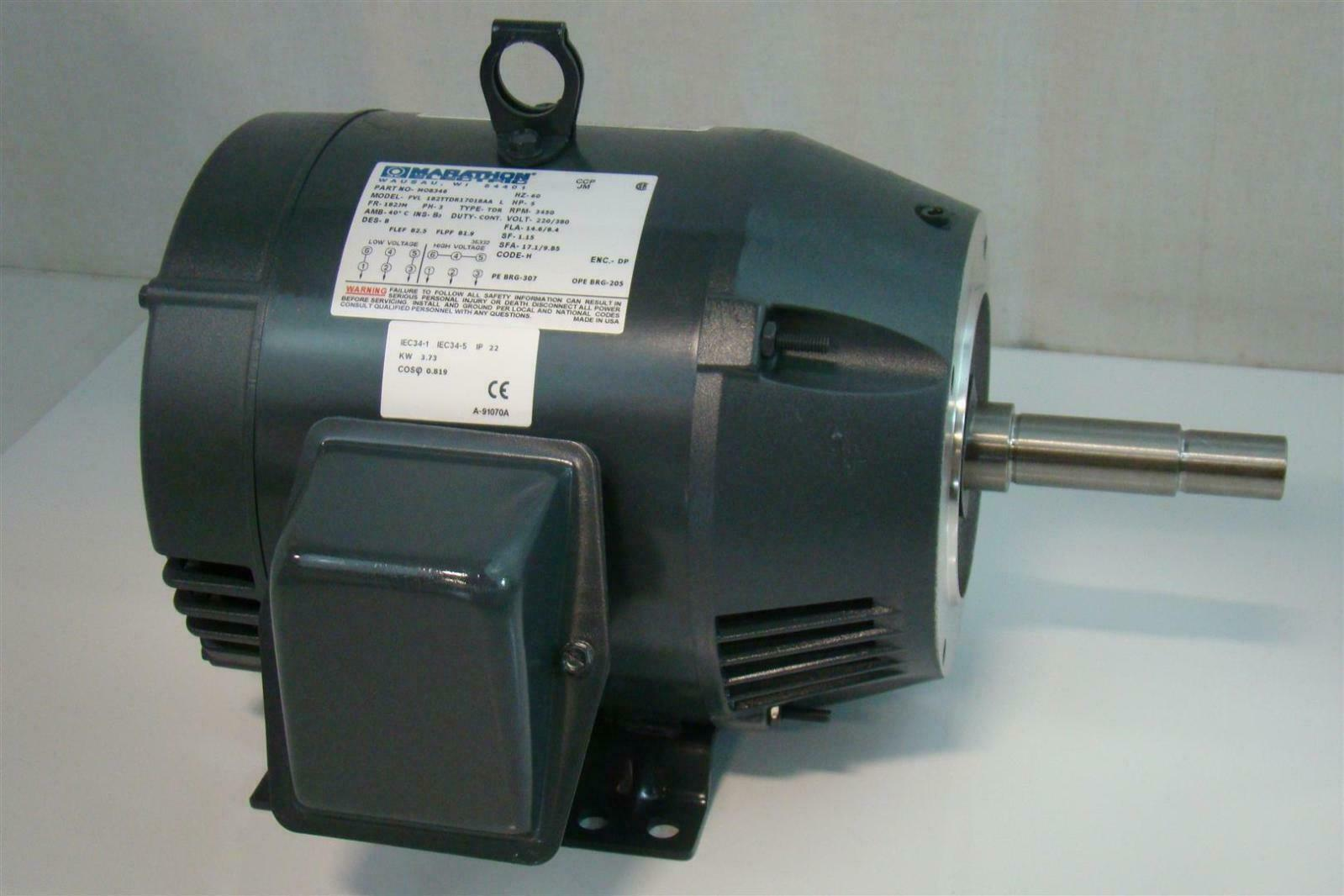 Marathon electric motor 5hp rpm 3450 220 380v ph3 fvl for Marathon electric motors model numbers