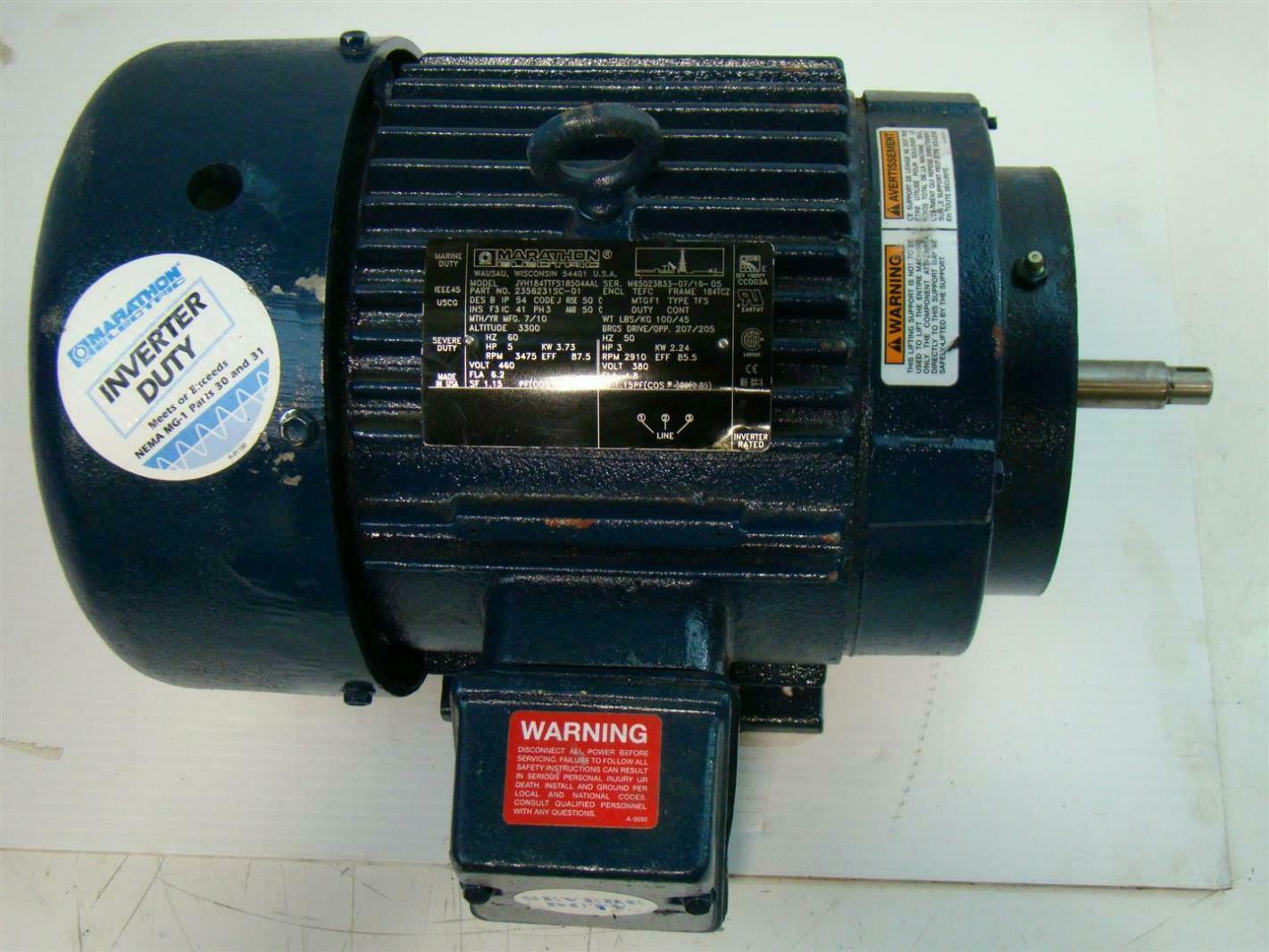 Marathon electric motor 5hp 3475rpm 460v 3ph for Marathon electric motors model numbers
