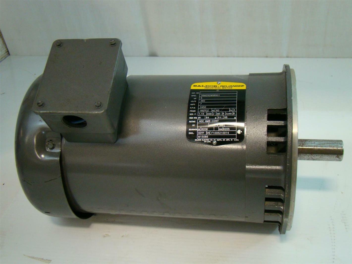 Baldor reliance electric motor 5hp 380v 3450rpm 60hz 3ph for Baldor electric motor parts