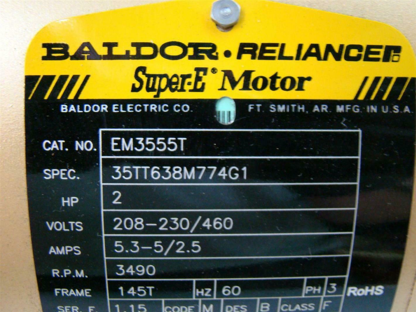 baldor reliance super e motor 2hp 208 230 460v 5 3 5 2