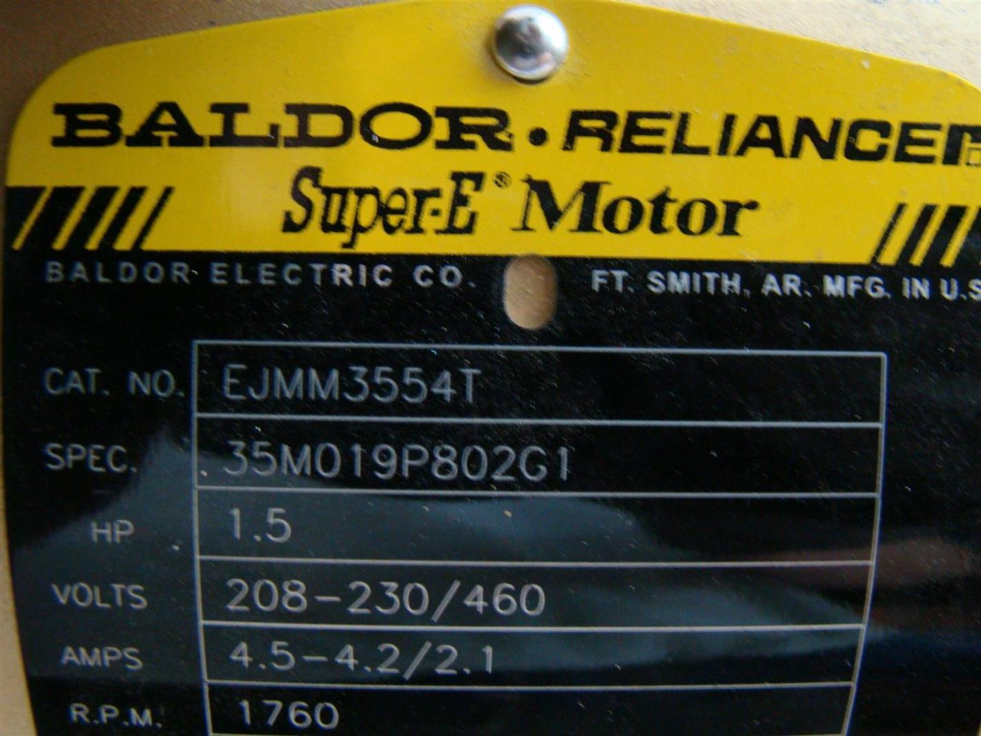 Baldor motors canada for Baldor reliance super e motor
