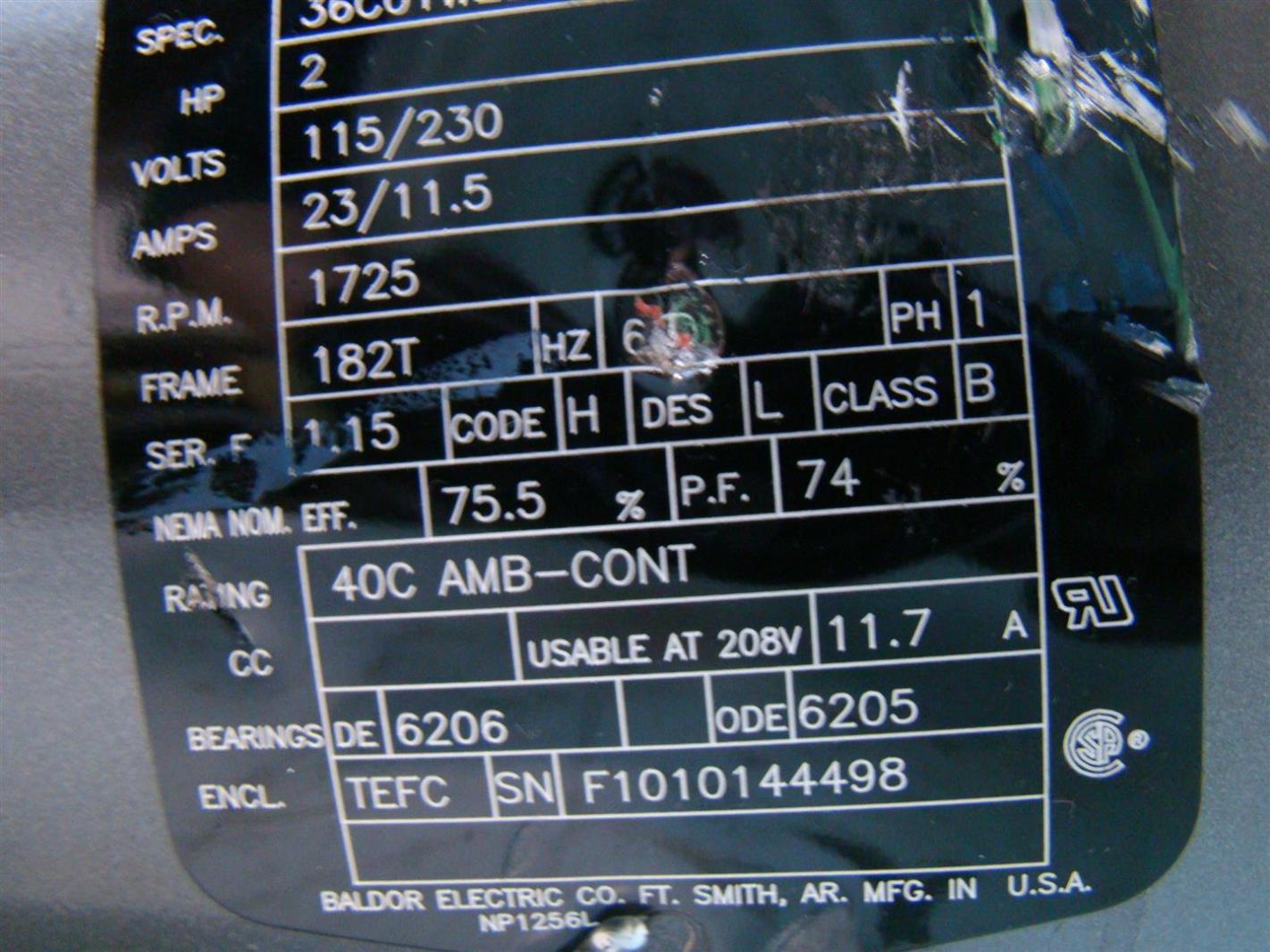 Baldor Reliance Industrial Motor 2hp 115 230v 23 11 5amps