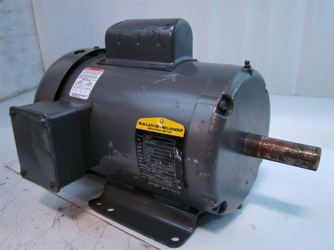 Baldor reliance industrial motor 2hp 115 230v 23 11 5amps for Baldor industrial motor parts