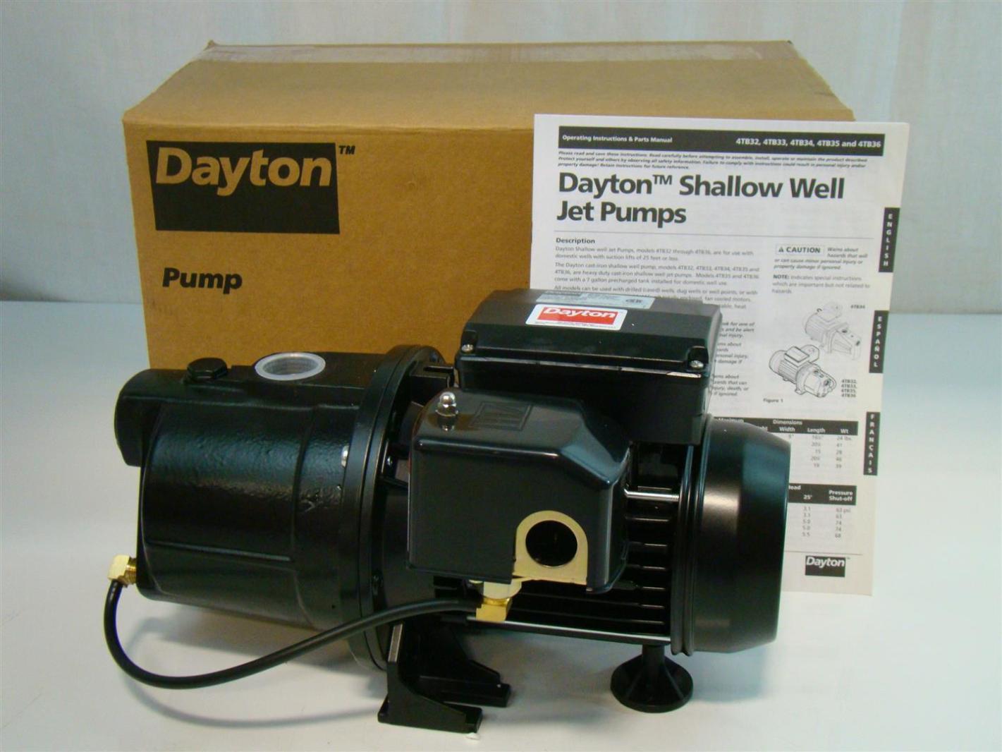 Dayton Shallow Well Jet Pump 1 2hp 115v 7 2amps 4tb32 Ebay