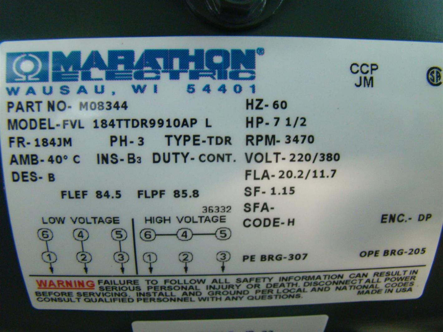 Marathon Electric Inverter Duty 7 2hp Electric Motor