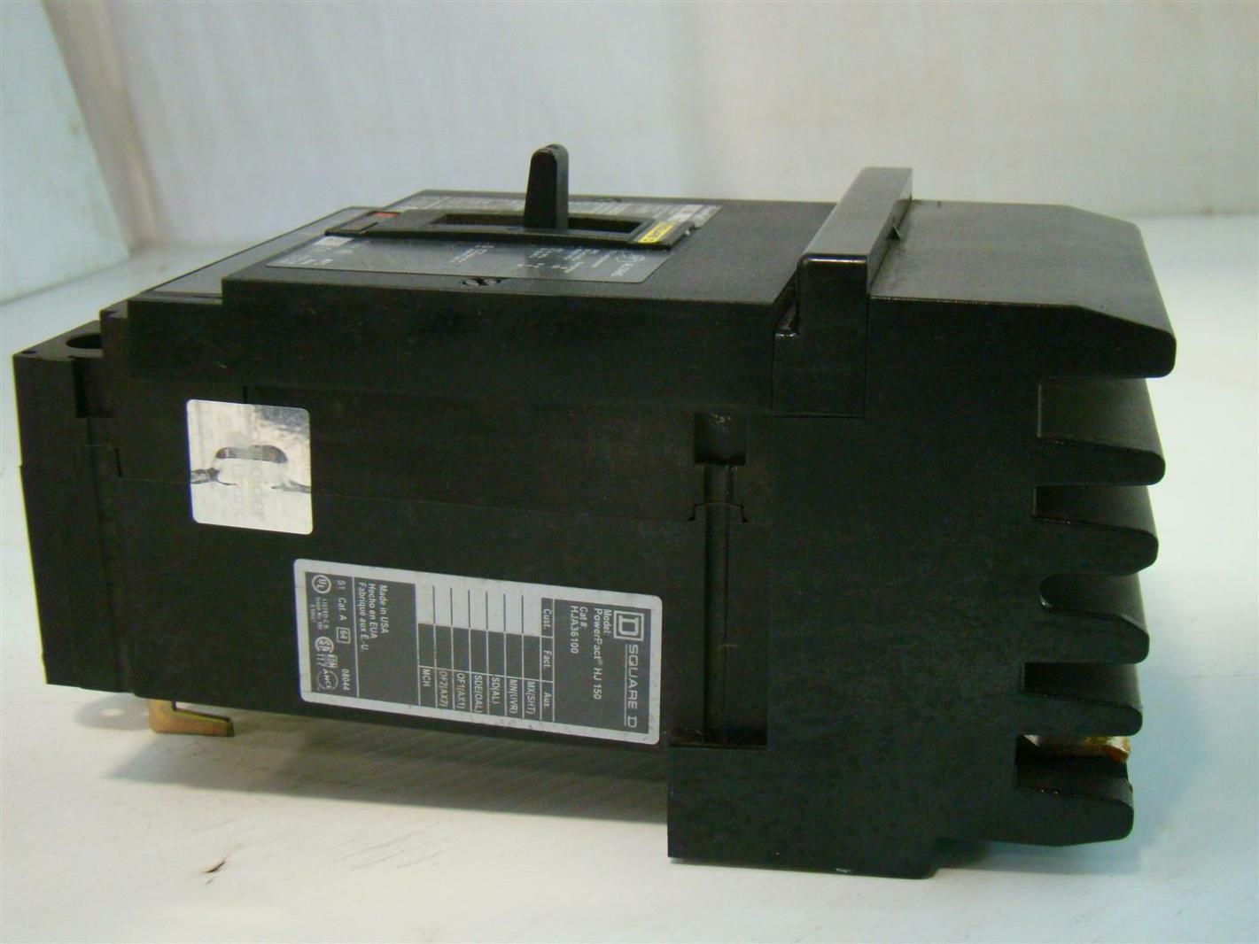 Square D I-Line Circuit Breaker HJ 150 100A PowerPact HJA36100 ...