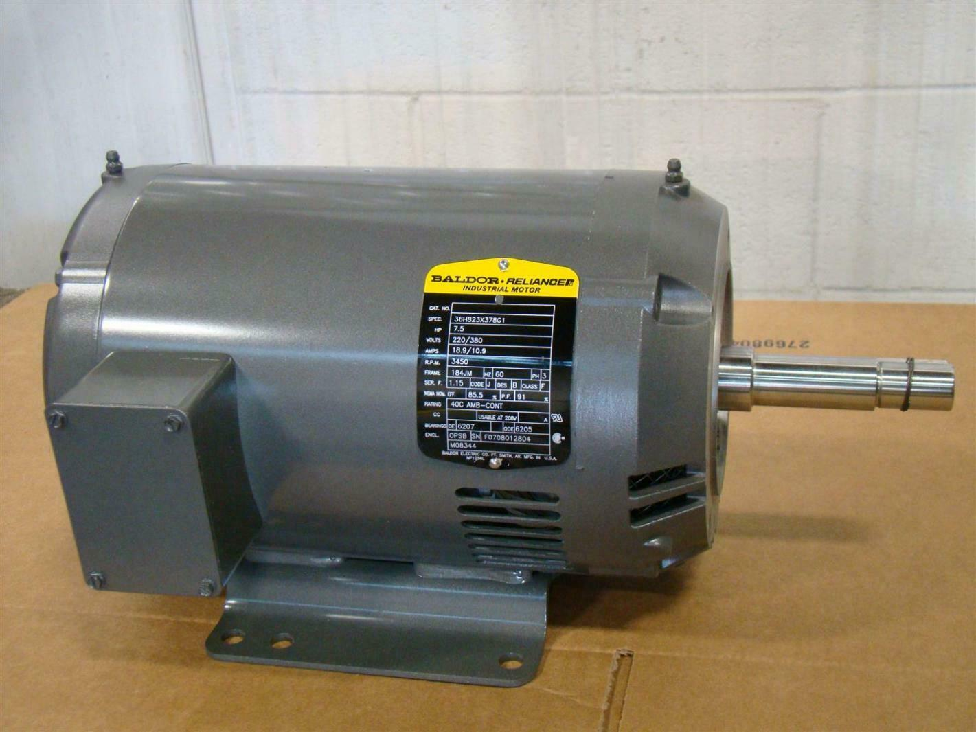 baldor reliancer industrial motor 7 5hp 220 380v 3450rpm