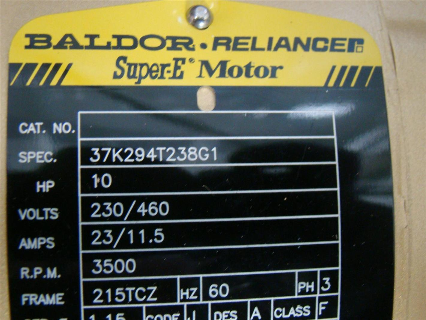 baldor reliancer super e motor 10hp 230 460v 23 11 5amps