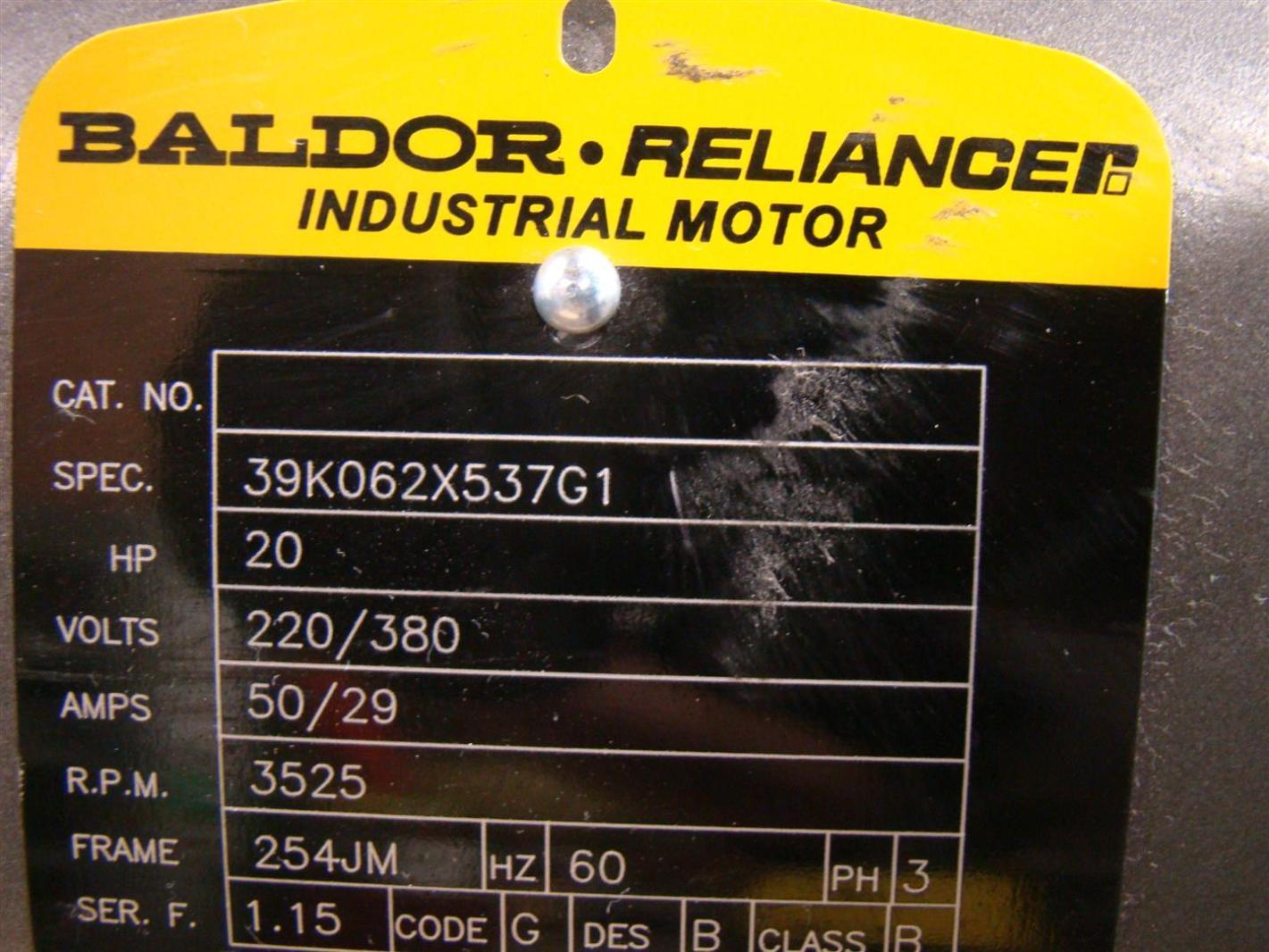 Baldor reliancer industrial motor 20hp 220 380v 50 29amps for Baldor reliance motor parts