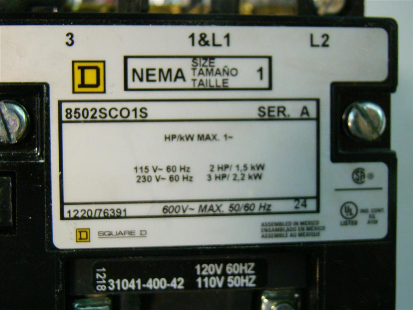 Motor Starter Size Square D Nema 1 Wiring Diagram Phase 120v Coil 2hp 5kw