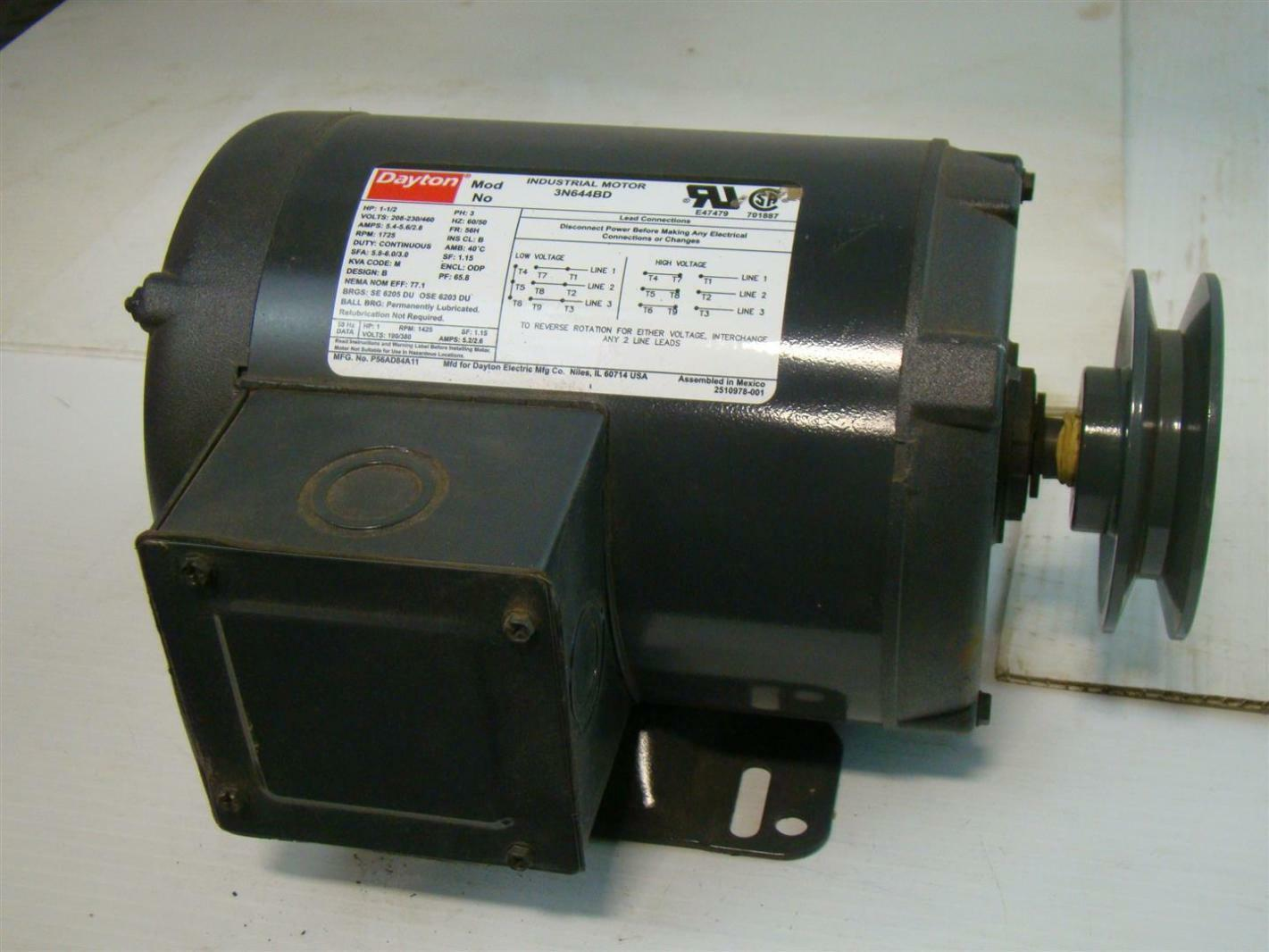 Dayton Industrial Motor 1 1 2 Hp Ph3 208 230 460v 5 4 5 6