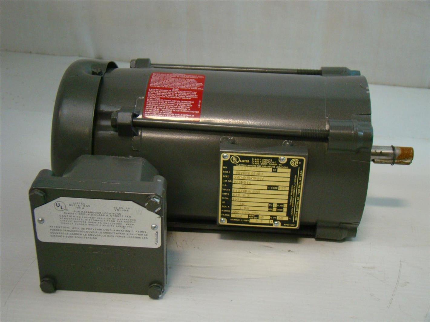 Baldor 1 3hp Electric Motor Hazardous Location 115 208