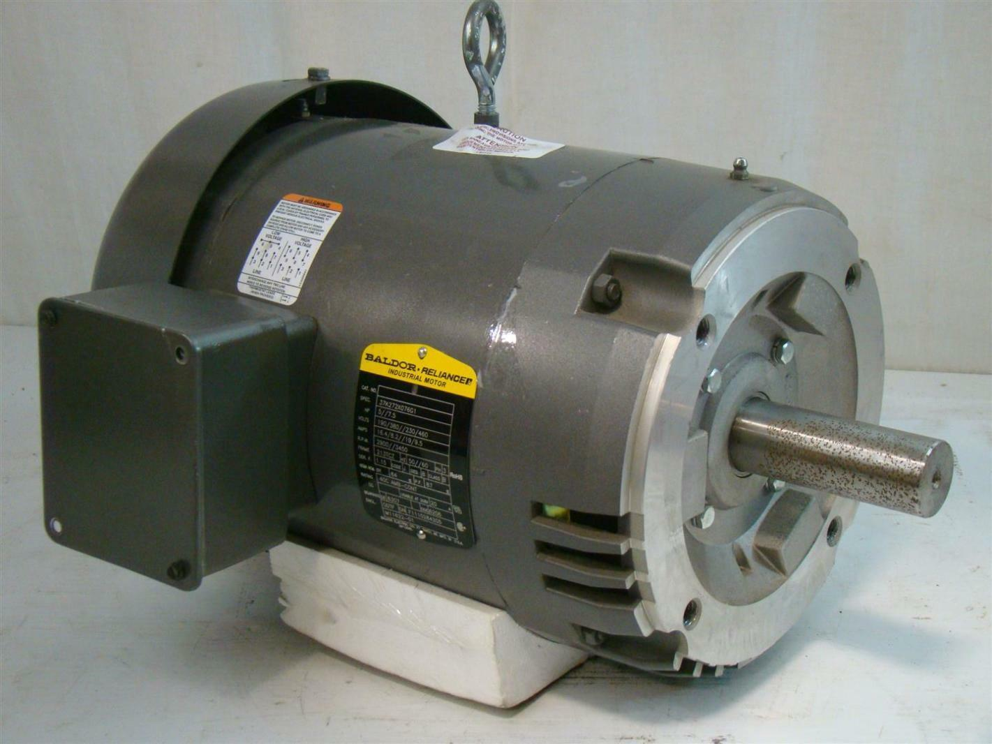 Baldor reliancer industrial motor 5 7 5hp 190 380 230 460v for Baldor industrial motor parts