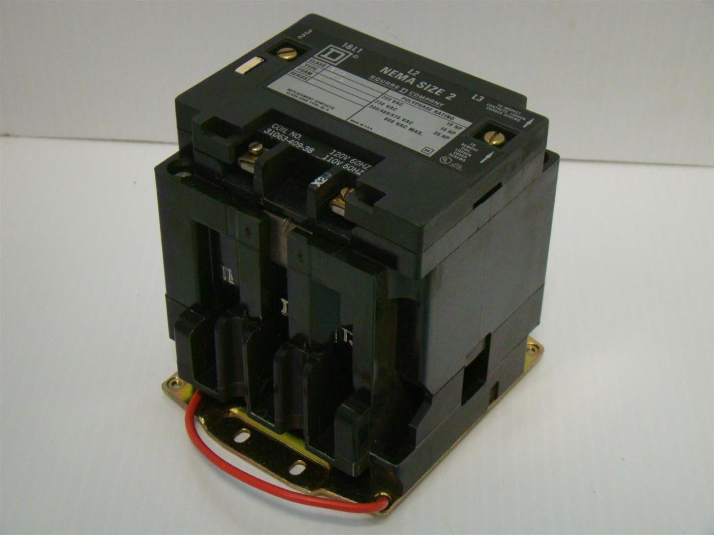 square d nema size 2 motor starter 600vac max 10hp 8502