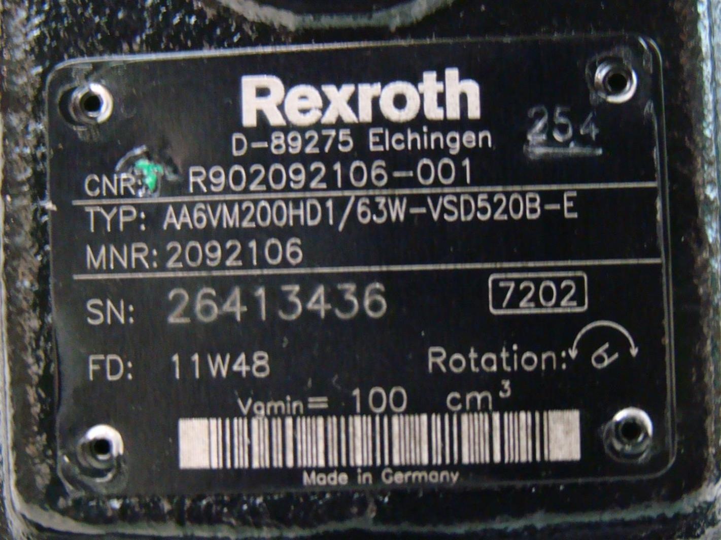 Rexroth Hydraulic Motor Variable Displacment 11W48 AA6VM200HD1/63W-VSD520B-E