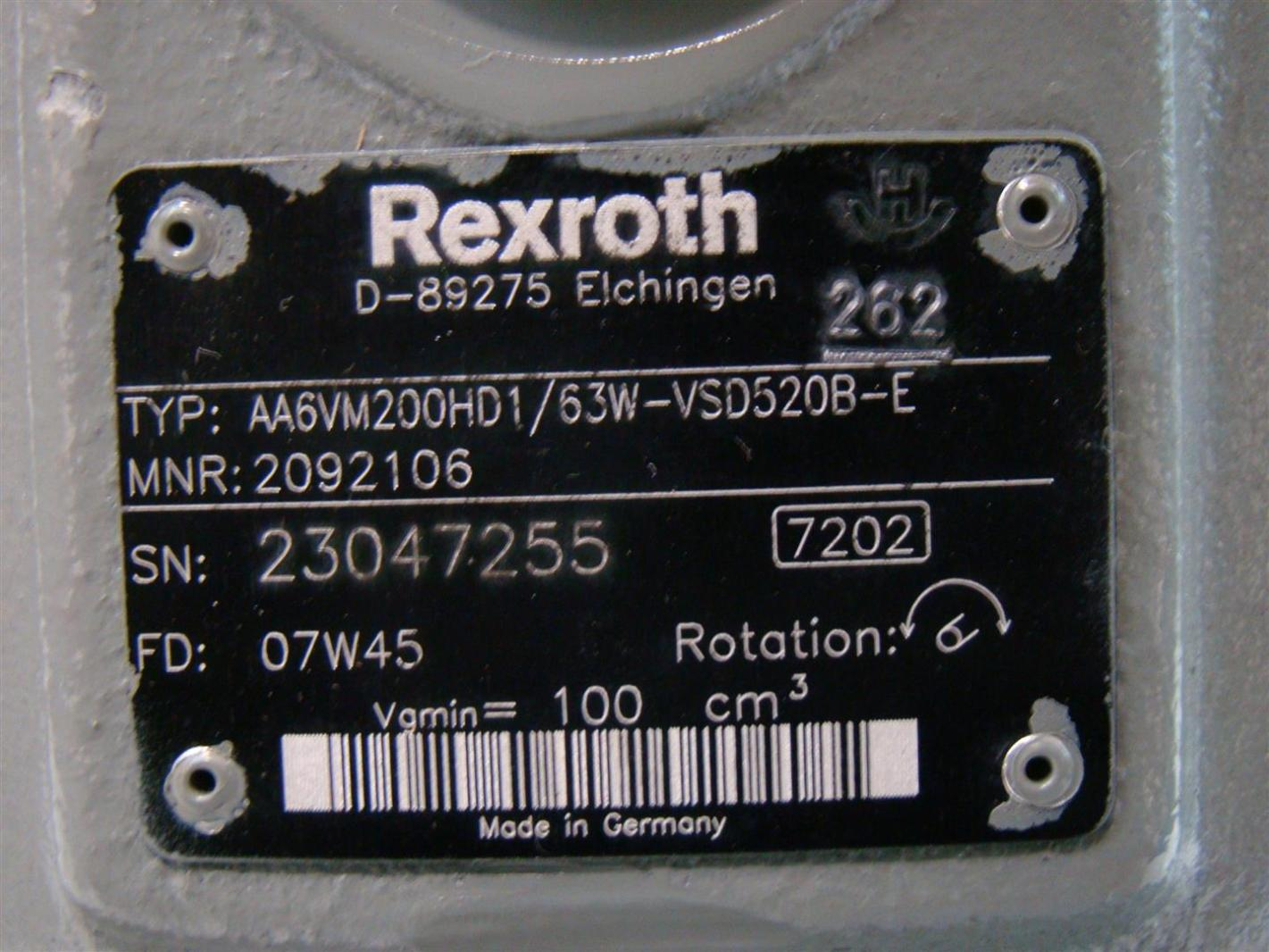 Rexroth Hydraulic Motor Variable Displacment 2092106 AA6VM200HD1/63W-VSD520B-E