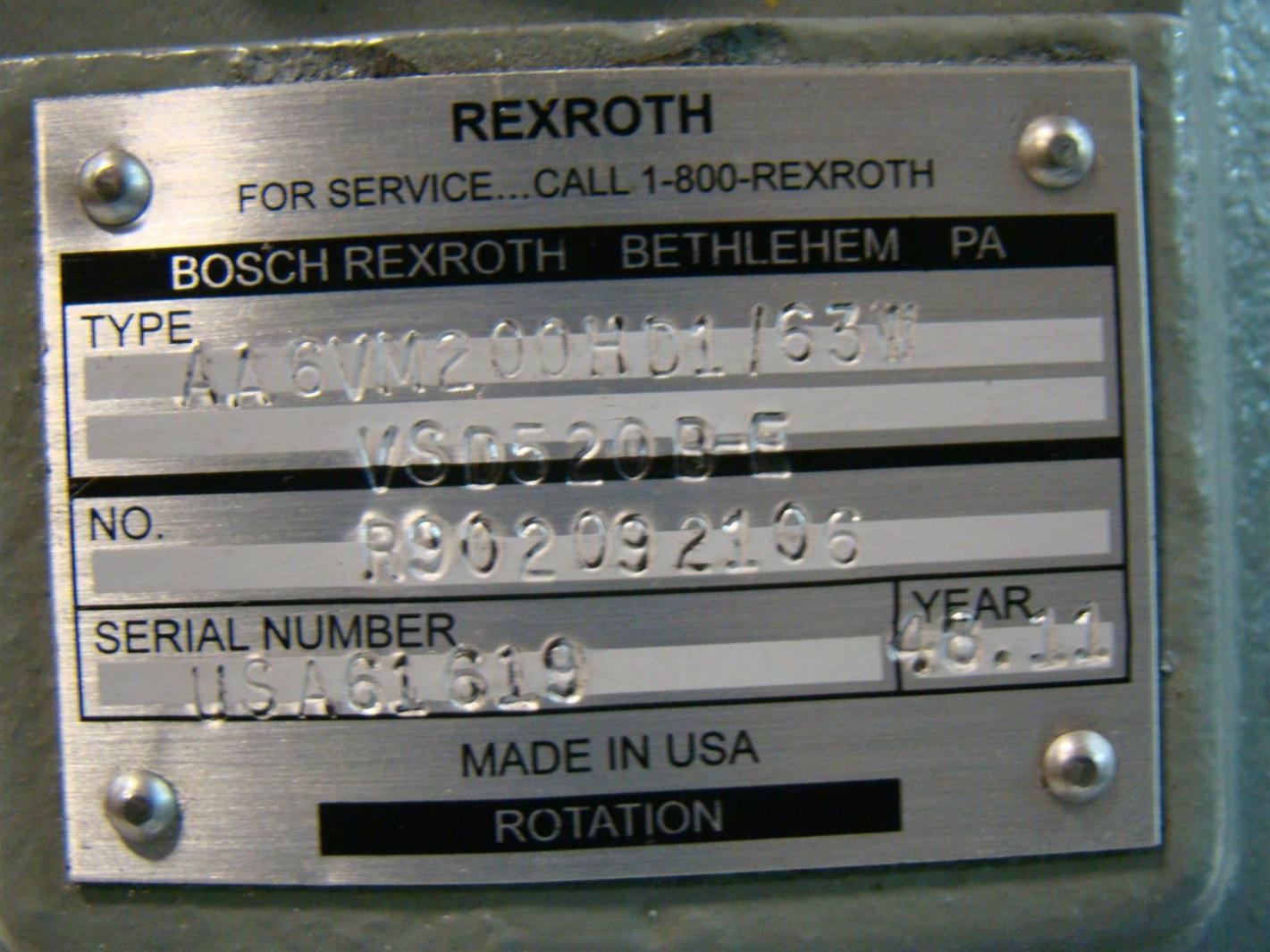 Rexroth Hydraulic Motor Variable Displacment R902092106 AA6VM200H01/63W VSD520B-