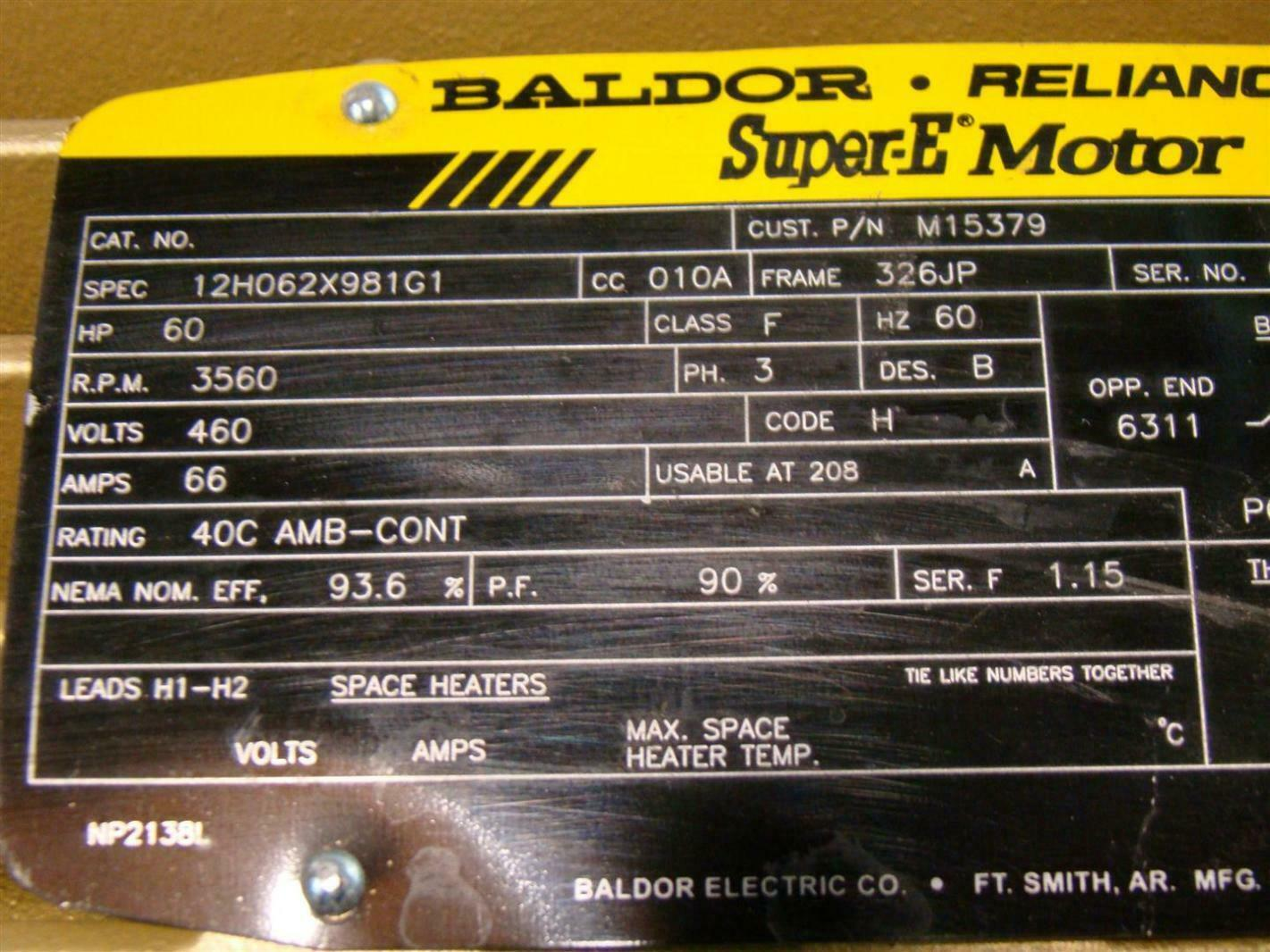 Baldor Reliancer Super E Motor 60hp 3560rpm 460v 12h062x981g1
